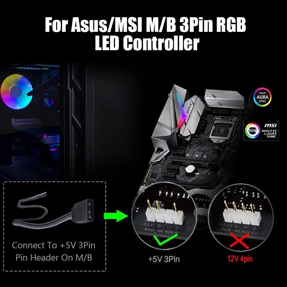 12-Way 5V RGB LED Splitter HUB PMMA Case and Magnetic Standoff SATA for ASUS//MSI