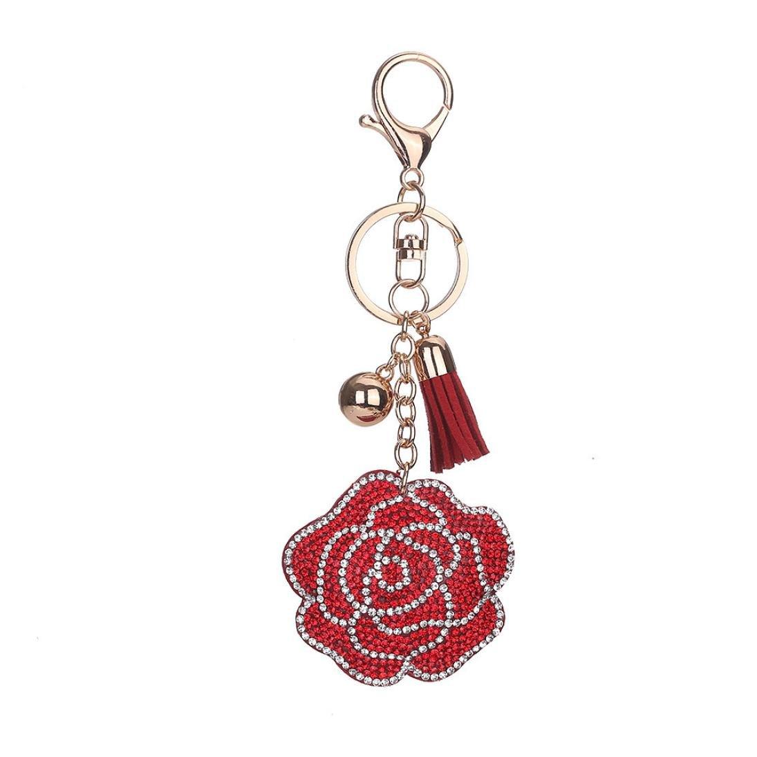 BCDshop Roses Keychain Rhinestone Tassel Key Chain Car Key Bag Handbag Key Ring Pendant Charm Gift (White) LL-123