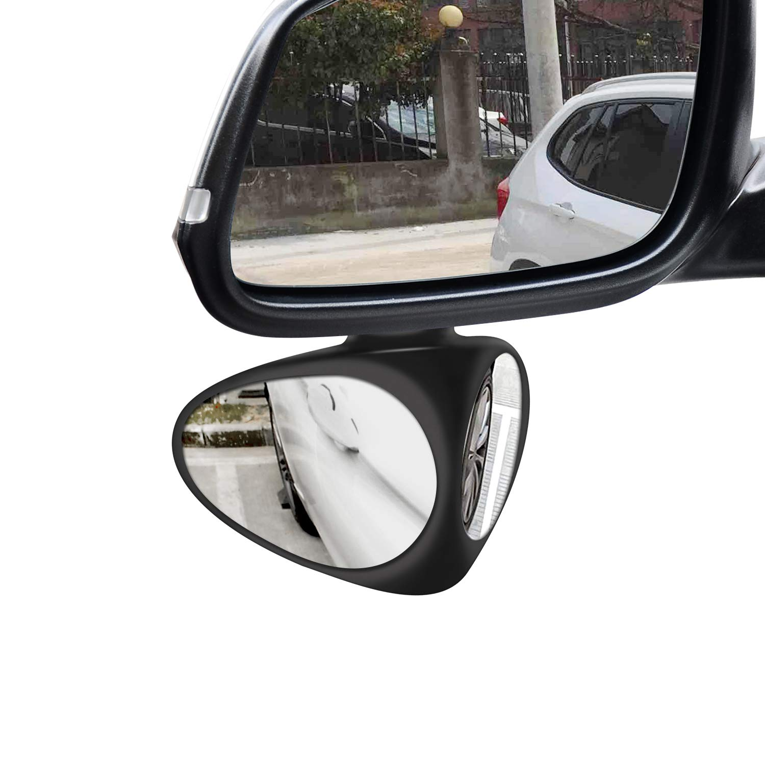 Car Blind Spot Mirror, 360 Degree Rotate Adjustable Stick-on Convex Rear View Mirror, View Front Wheel Car Coach Mirror for Car,SUV,and Truck (Left,Black 1 Pack with 2 Pack Car Rearview Mirror Film) WINDSORD
