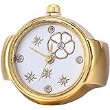 BODHI2000Lady Girl rotonda elastico in lega al quarzo creativo dito anello orologio