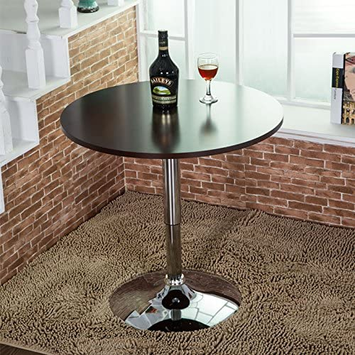 Elecwish Modern Round Bar Table Adjustable Bistro Pub Counter Wood Top Swivel Indoor Black