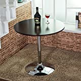 Elecwish Modern Round Bar Table Adjustable Bistro Pub Counter Wood Top Swivel Indoor (Black)