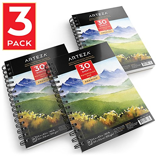 "ARTEZA 5.5x8.5"" Watercolor Pad, Pack of 3, 90 Sheets (140lb/300gsm), 30 Sheets Each, Spiral Bound Acid Free Cold..."
