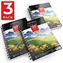 "Arteza Watercolor Pad, 3 Pack, 5.5""X8.5"" Painting & Drawing Paper Sketchbooks, 90 Sheets Total, 140 lb./300gsm Cold Pressed Paper, Acid Free, Perfect for Wet, Dry & Mixed Media Painting"