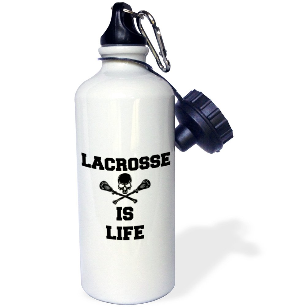 3dRose wb_201924_1 Lacrosse is life picture of black skull and lacrosse sticks - Sports Water Bottle, 21oz