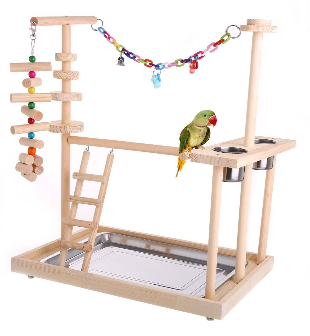 Qbleev Parrot Wood Stand Perch Bird Playstand Playground