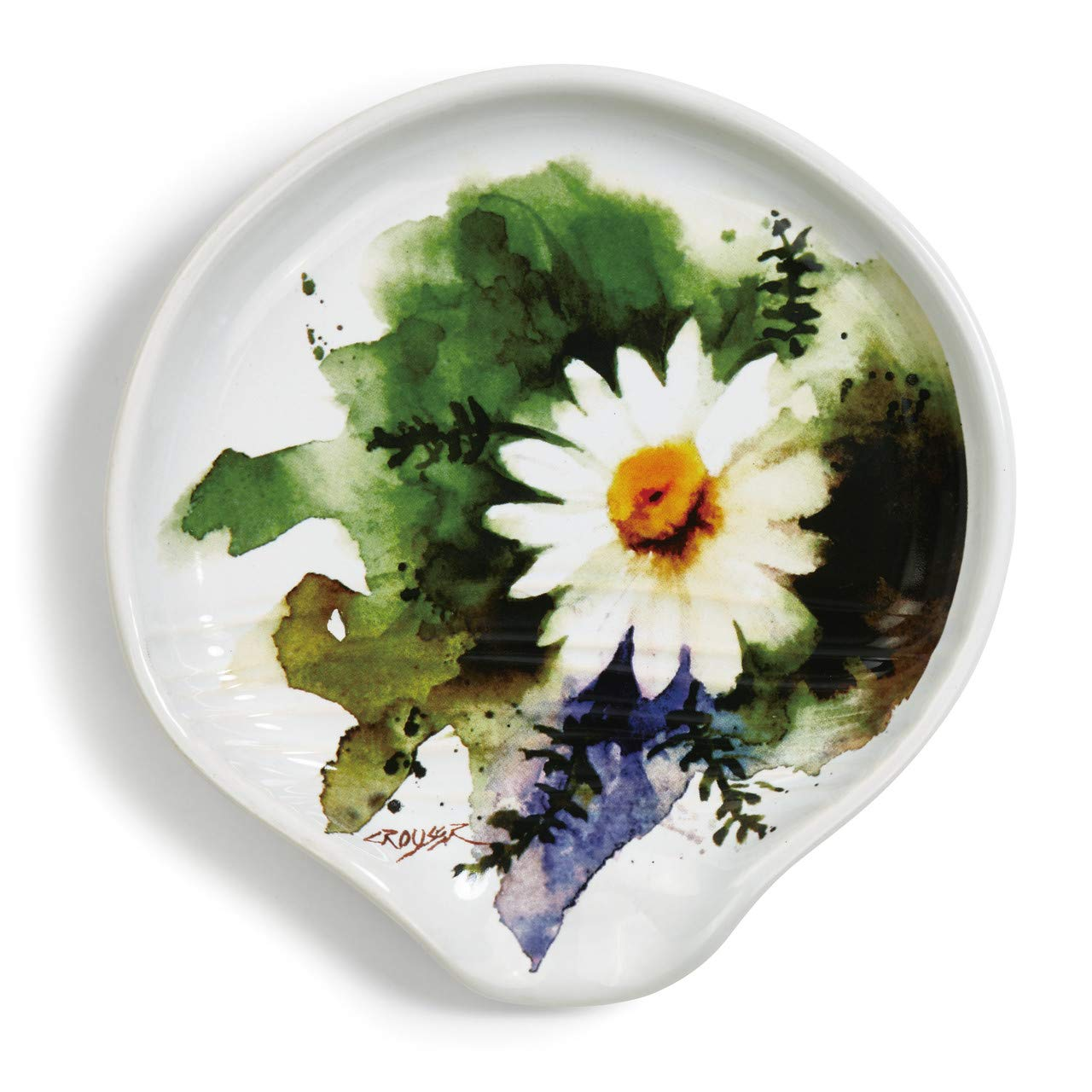Dean Crouser Chamomile Herbal Floral Watercolor Green 5 x 5 Ceramic Stoneware Spoon Rest