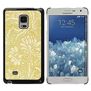 TopCaseStore / la caja del caucho duro de la cubierta de protección de la piel - Gold Wallpaper Floral Beige Flowers - Samsung Galaxy Mega 5.8 9150 9152