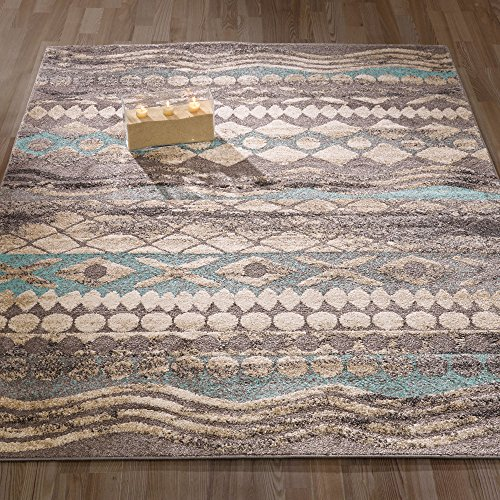 Ottomanson Urban Collection Contemporary Sculpted Effect Tribal Print Blue Grey Area Rug – 5×7 (5'3″ x 7'3″) For Sale