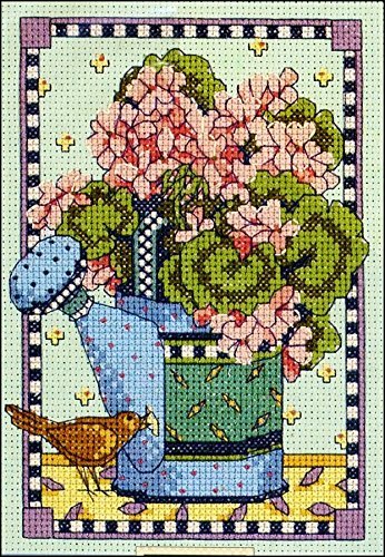 - Watering Can Geraniums Counted Cross Stitch