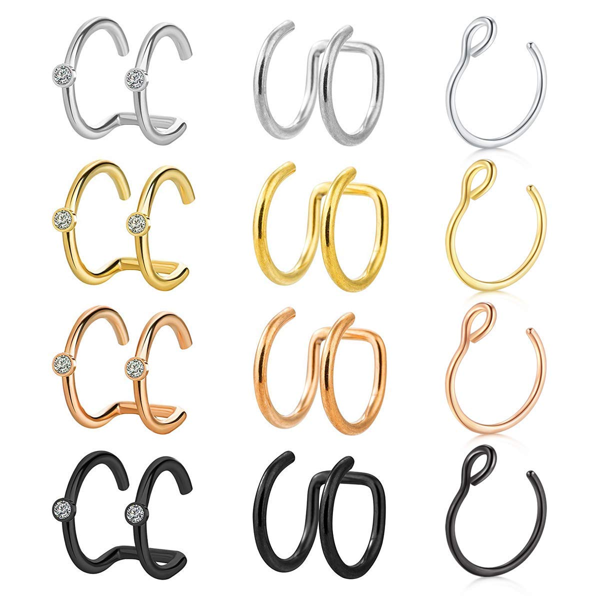 VCMART Stainless Steel Ear Cuff Helix Cartilage Clip On Wrap Earrings Fake Nose Ring Non-Piercing Adjustable Men Women