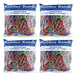 BAZIC Assorted Dimensions 227g/0.5 lbs. Rubber Bands, Multi Color (465-48P) (4-Pack)