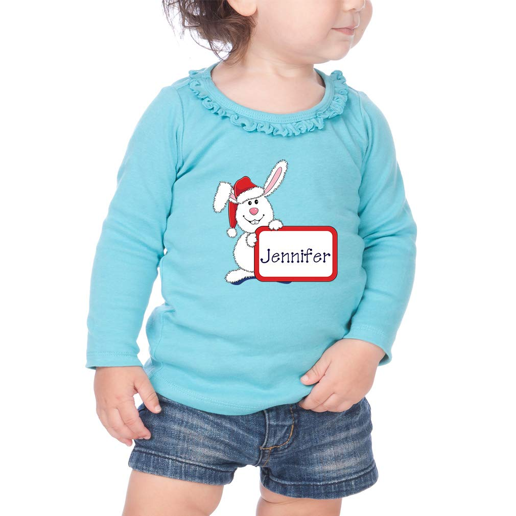Personalized Christmas Bunny Cotton Toddler Long Sleeve Ruffle Shirt Top