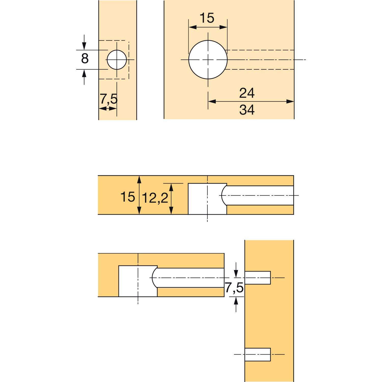 Plattenst/ärke 15 Bohr /ø15 Hettich 79457 RASTEX Exzenter ohne Abdeckrand 200 St/ück