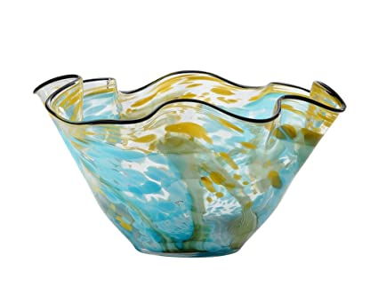 Amazon New 14 Hand Blown Art Glass Vase Bowl Ruffle