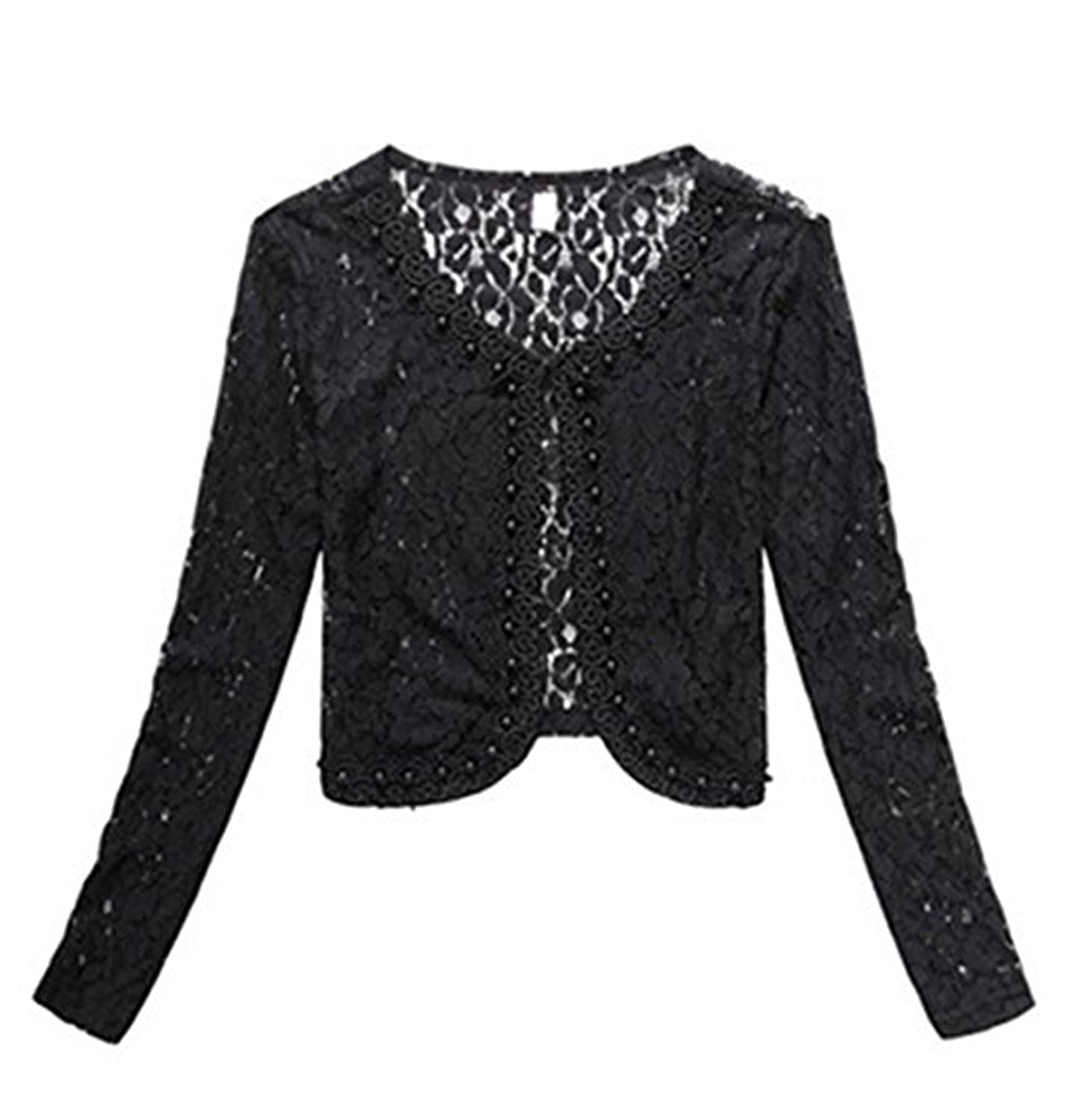 TOP OneWomen's Lace Shrug Bolero Cardigan Party Long Sleeve Floral ...