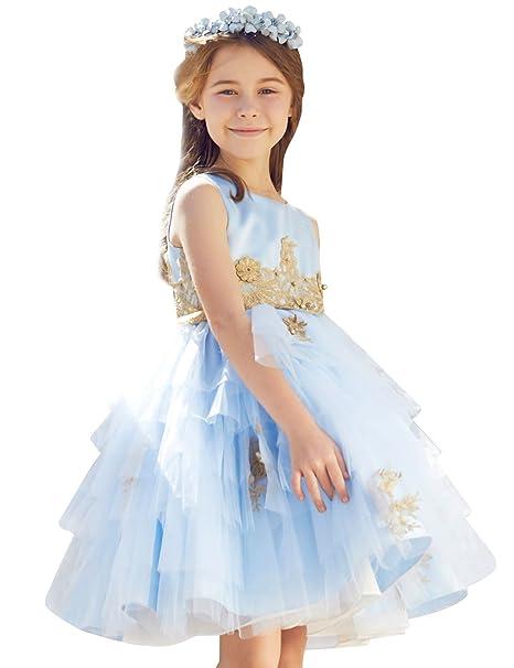 ELPA ELPA Vestido de ni?a de las flores azul fiesta vestidos de noche para