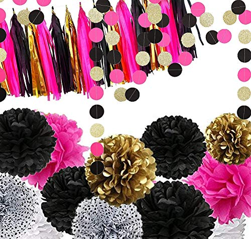 Fonder Mols 29 Bachelorette Party Decorations Black and Hot Pink - 12pcs Black Fuchsia Gold Tissue Paper Pom Poms 15 Tassel Garland Bunting and 2 Sparkle Polka Dots Garlands -
