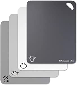 Flexible Plastic Cutting Board Mats in Unique Modern Neutral Colors With Food Icons & Easy-Grip Handles, Fotouzy BPA-Free, Non-Porous, 100% Non-slip Back and Dishwasher Safe, Set of 4