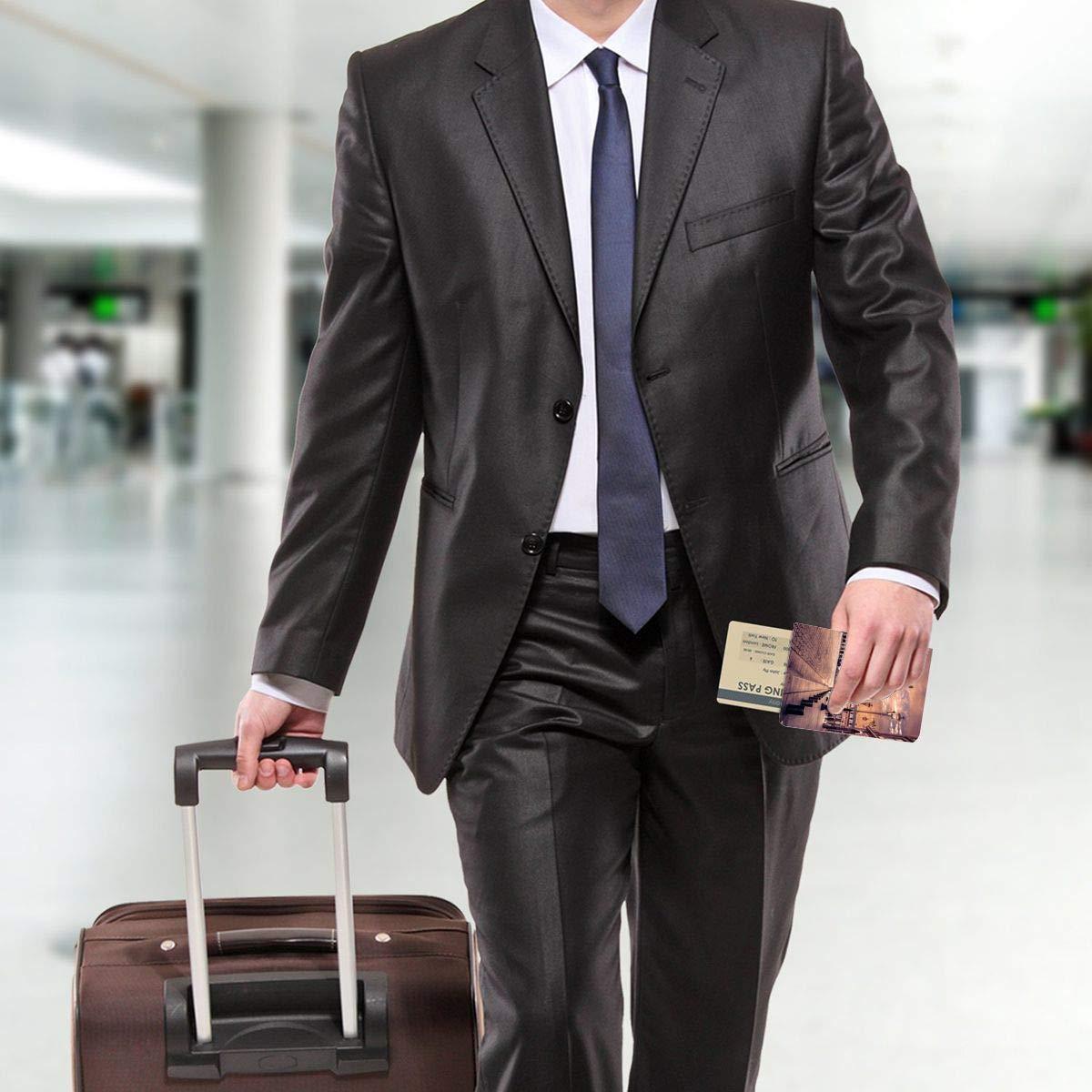 European Architectural Landscape Fashion Leather Passport Holder Cover Case Travel Wallet 6.5 In
