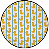 Printing Round Rug,Rubber Duck,Yellow Duckies with Blue Stripes and Small Circles Baby Nursery Play Toys Pattern Mat Non-Slip Soft Entrance Mat Door Floor Rug Area Rug For Chair Living Room,White