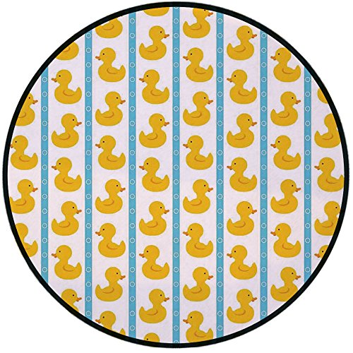 - Printing Round Rug,Rubber Duck,Yellow Duckies with Blue Stripes and Small Circles Baby Nursery Play Toys Pattern Mat Non-Slip Soft Entrance Mat Door Floor Rug Area Rug For Chair Living Room,White