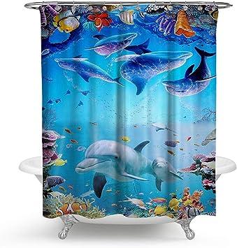 kisy impermeable resistente al moho baño cortina de ducha azul bajo el mar océano mundo peces delfín poliéster baño cortina de ducha (180 x 180 cm): Amazon.es: Hogar