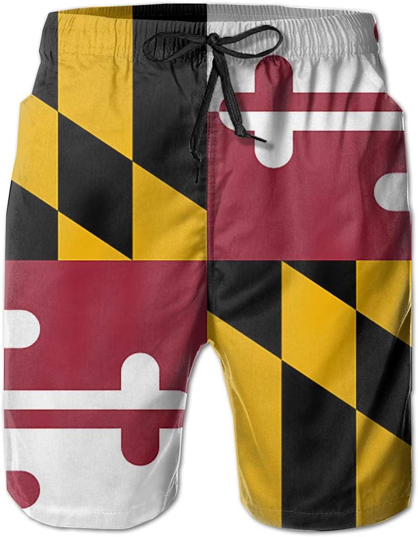 FRS Ltd Maryland State Flag Mens Quick Dry Swim Trunks Beach Board Short Drawstring Casual Athletic Shorts