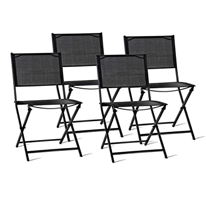 Attractive Giantex Set Of 4 Outdoor Patio Folding Chairs Portable Sling Furniture  Steel Foldable Chairs Set Camping