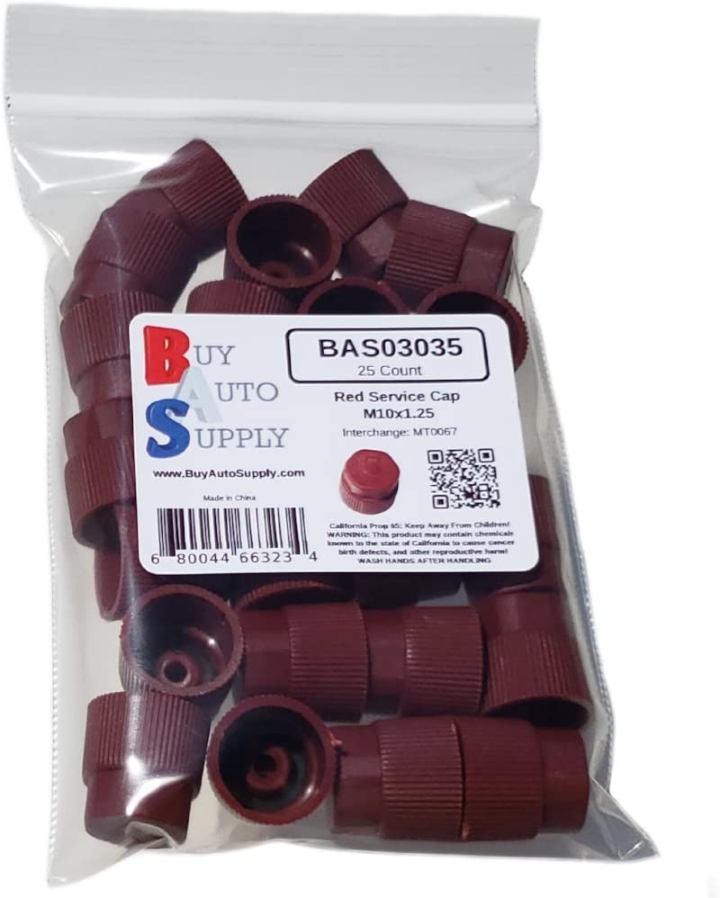 Buy Auto Supply # BAS03035 M10x1.25 Thread Red High Side A//C Service Cap Charge Port Valve for Air Conditioning Systems Aftermarket Replacement For MT0067 59933 10 Count