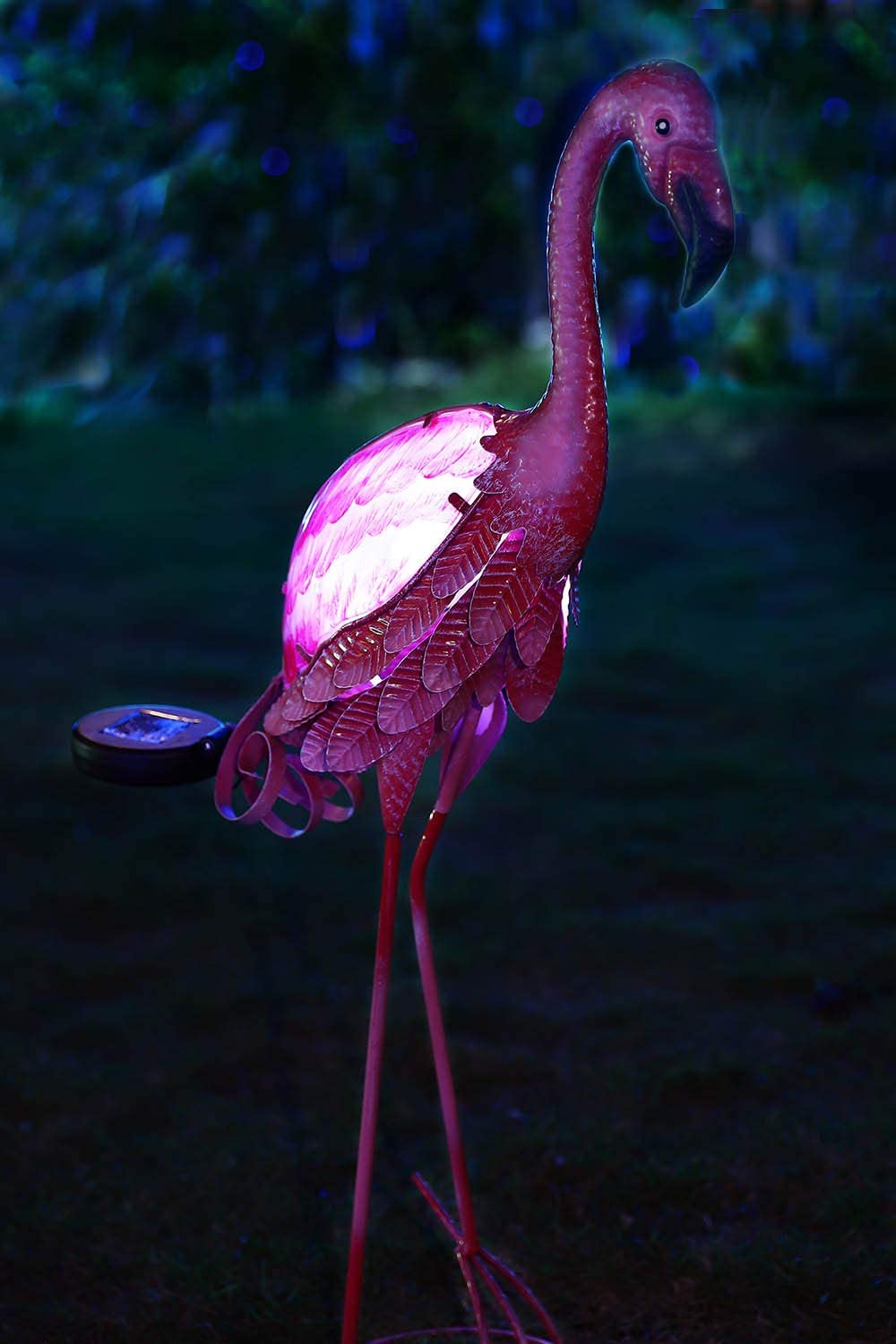 Liffy Metal Solar Flamingo Stake Outdoor LED Lights Ornament Decorative Pathway Decor for Garden Lawn or Yard