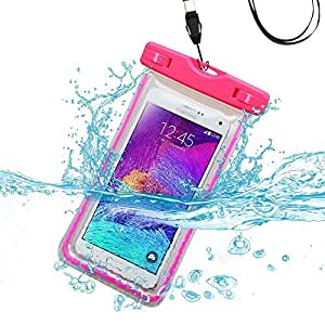 Premium Waterproof Sports Swimming Waterproof Water Resistant Lightning Carrying Case Bag Pouch for BLU Vivo Air (with Lanyard) (Hot Pink) + MYNETDEALS Mini Touch Screen Stylus