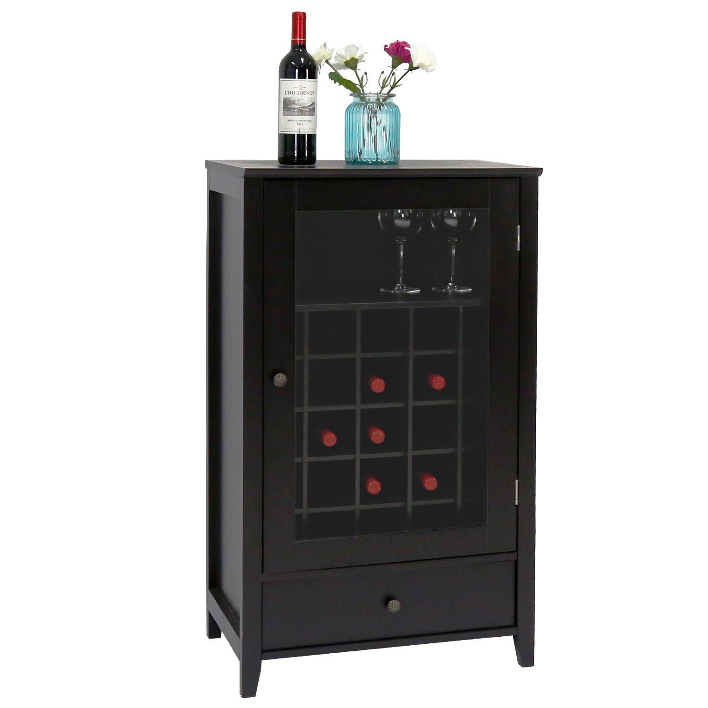 Peach Tree Sideboard Cabinet Wine Storage Wine Cabinet Table Big Storage Useful Buffet Table Kitchen Furniture, Black