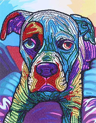 Diamond Painting DIY 5D Special Shape Rhinestones, ABEUTY Blue Colorful Dog Animal, Partial Drill Crystal Diamond Art Kits ()