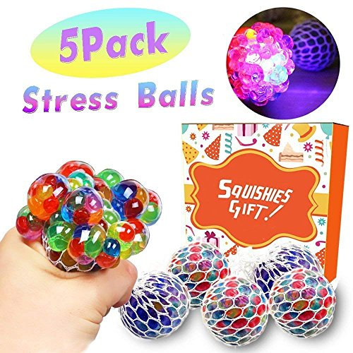 - Qiwoo 5 Pack Squishy Mesh Anti-Stress Sensory Balls Grape Glowing Flashing Multi-Color Relief Relieve Pressure Fidget Squeeze Toys Non-Toxic for Women Men Kids Boys Girls Outdoor School Office Travel