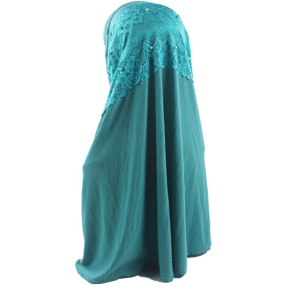 Women Muslim Head Scarf Shawl Cotton Pearl Deco Above Turban Solid Long Scarf