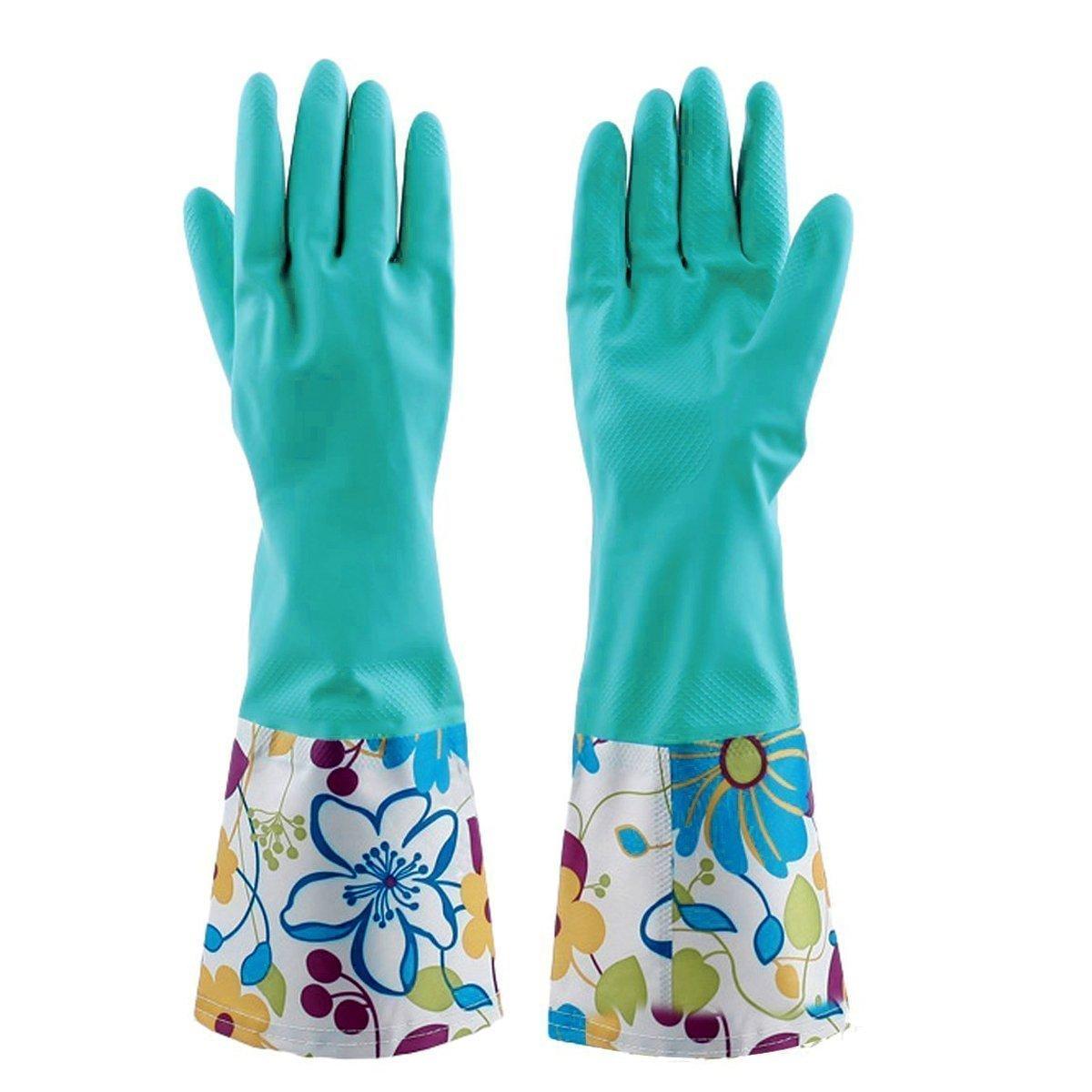 Lucky Will Femme réutilisable Motif fleurs étanche en caoutchouc gants gants de ménage en latex Gants en caoutchouc
