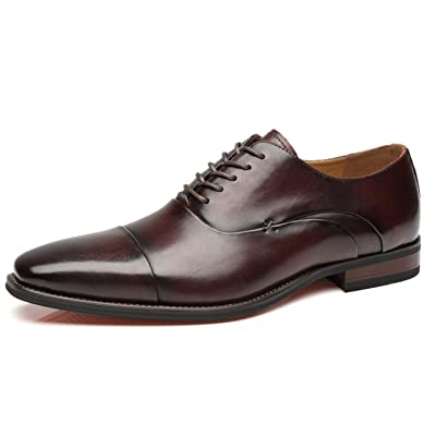La Milano Mens Cap Toe Oxford Leather Lace Up Classic Comfortable Modern Formal Business Dress Shoes for Men | Oxfords