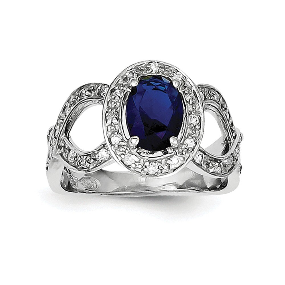 Sterling Silver Dark Blue Glass & CZ Ring by JOlivers