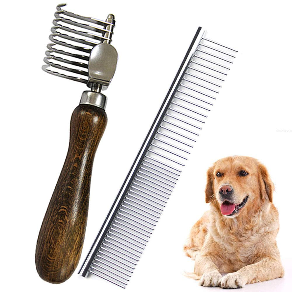 MEIBAI Pet Dematting Fur Rake Comb Brush Tool, Safe Grooming Accessories for Dogs, Longhaired Cats, Rabbits, Horses by MEIBAI