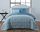 Avondale Manor Coraline 5-Piece Quilt Set, Queen, Blue