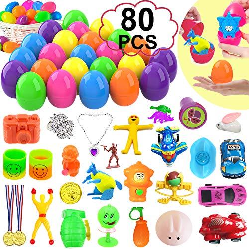 80 Set Easter Basket Stuffers - 40 Toy Figures Prefilled 40 Easter Eggs Plastic with Toys Inside Jumbo Easter Spring Eggs Bulk Cars/Planes/Bunny/Sticky Toys Party Favors Decor Easter Hunt Suprise Eggs -