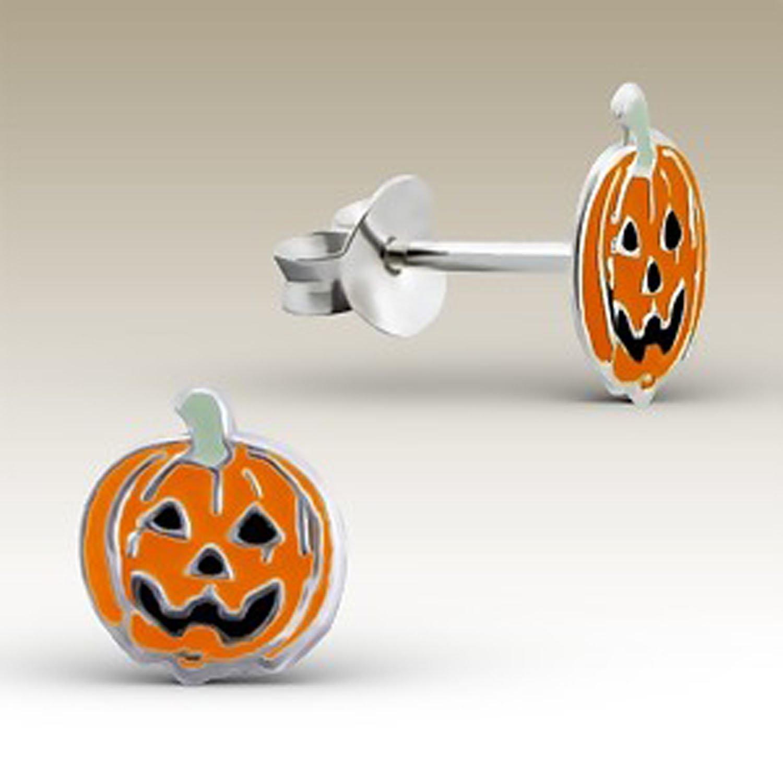 Small Jack O Lantern Earrings Halloween Pumpkin Silver Earrings Girls (E4432)