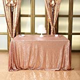 Eternal Beauty Square Sequin Tablecloth Sequin Table Linen, 48''x48'', Champagne Blush