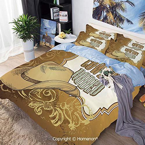 Home Fashion Designs 3-Piece Set,Cowboy Rodeo Themed Framework Vintage Floral Ornaments and Hat Design Decorative,Full Size,for Bedroom Guest Room,Light Caramel White