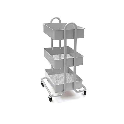 20cdb962494a3 Amazon.com: Mind Reader 3 Tier All Purpose Utility Cart, Heavy Duty, Silver:  Home & Kitchen
