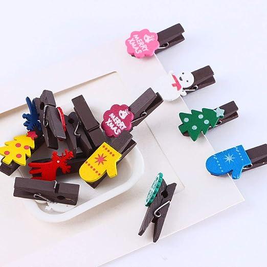 Mini pinzas de madera para decoraci/ón de pared de fotos decorativas para Celebraci/ón Navidad Boda Papel Fotogr/áfico Clips de Artesan/ía 2m Cordel 12 Pinzas Mini Pinzas de Foto de Madera Clips