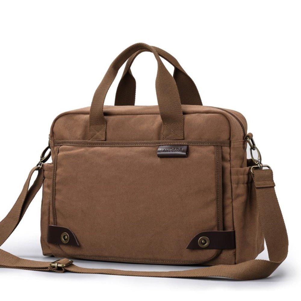 XINCADA Messenger Bag Man Purse Canvas Shoulder Bag Crossbody Bags Travel Satchel (Coffee)