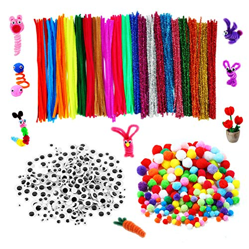 900 Pieces Pipe Cleaner Sets, Including 300 Pieces Craft Chenille Stems, 300 Pieces Assorted Pompoms, 300 Pieces Self-Sticking Wiggle Googly Eyes for DIY School Art Projects Christmas Decorations (Projects Christmas For Pipe Cleaner)