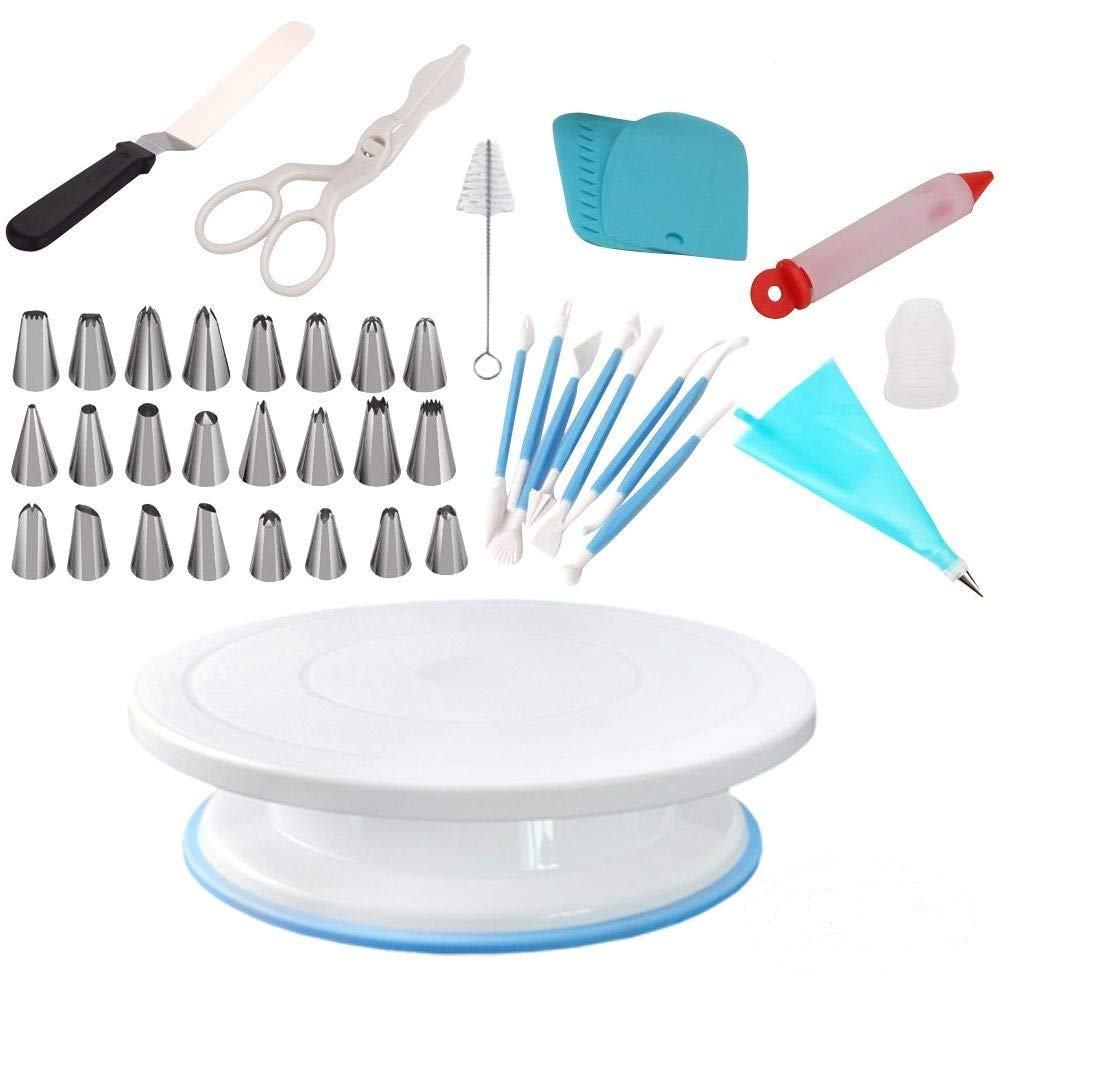 ShoppeWatch Cake Spinner Turntable Rotating Stand Baking Decoration Supplies and Decorating Kit - Spatula-Smoother-Scraper-Comb-Flower Lifter-Pen-Icing Tips-Coupler-Brush-Reusable Silicone Pastry Bag 1 Inside this Gift Box: Spinning Bake Decorator Kit with 11 INCH Spin Plate, Baking Supplies and Tools Bundle : Total 42 Pcs. Icing and frosting made easy. Design your cakes, cupcakes, muffins, donuts, cookies and pies or desserts on the Revolving Lazy Susan Cake Stand. Turning table tray rotates 360° for easy intricate icing, combing or smoothing border and sides. Equipment suitable for advanced or professional level bakers as well as beginners. Spinning Cake Stand is lightweight and sturdy. Non-slip base keeps turning table and cake in place. Cake stand turns smoothly clockwise and counter-clockwise on a hidden ball-bearing track.